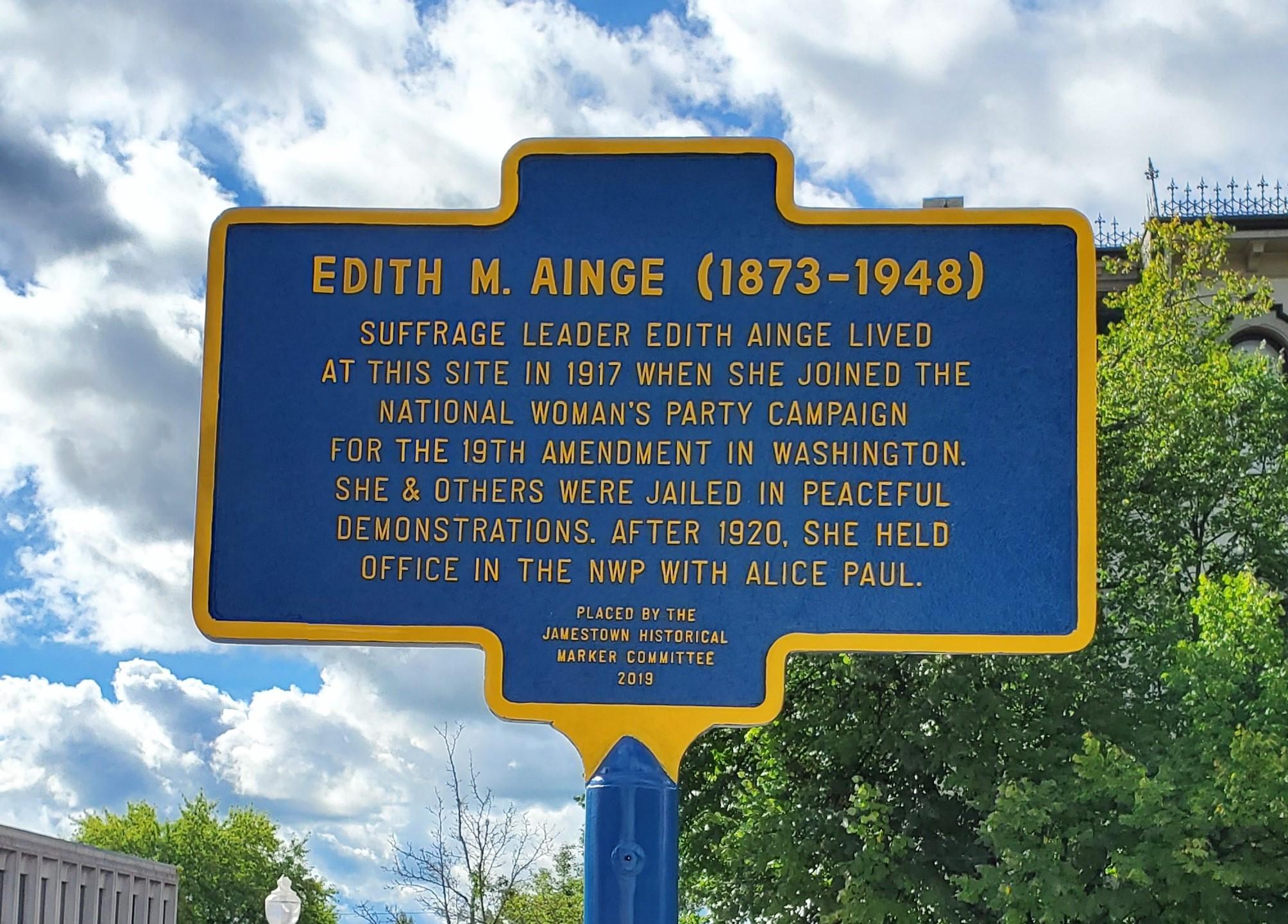 City of Jamestown historical marker honoring Edith Ainge, dedicated September 4, 2020.